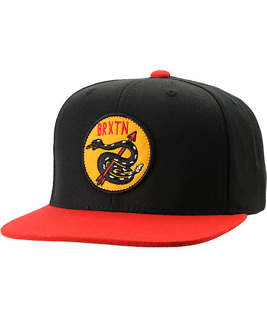 Brixton Pierce Black & Red Snapback