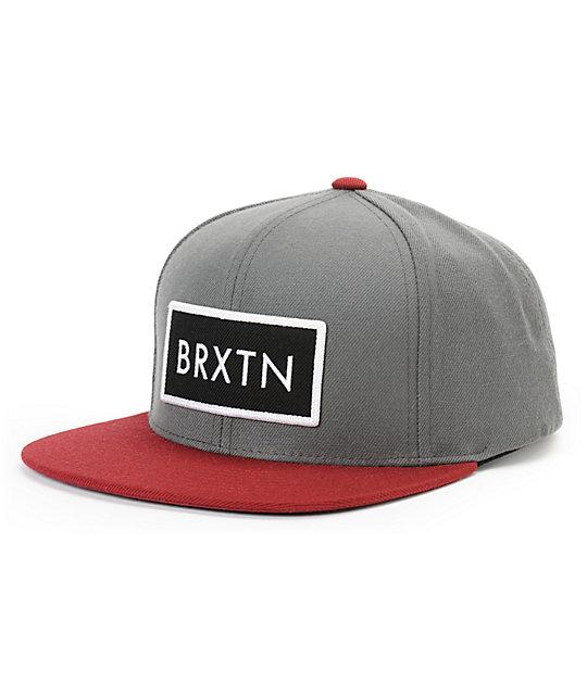 Brixton Rift Charcoal & Burgundy Snapback Hat