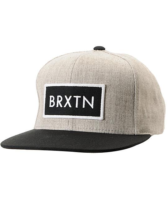 Brixton Rift Heather Grey & Black Snapback Hat