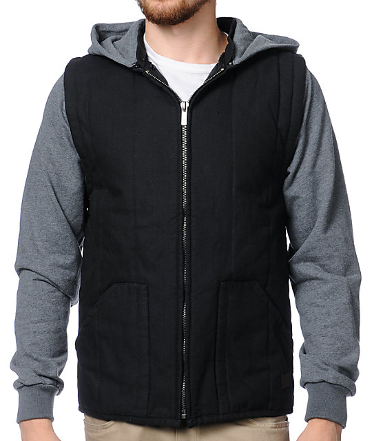 Brixton Ruger Grey & Black Hooded Vest Jacket
