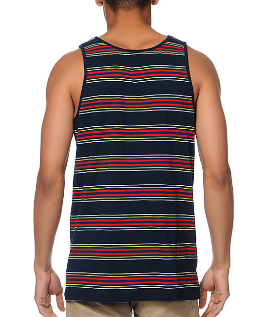 Brixton Sherman Navy Stripe Tank Top