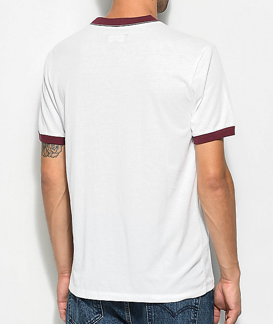 Brixton Stockport White & Burgundy T-Shirt
