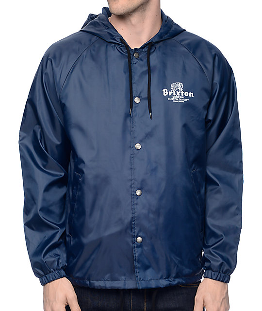 Brixton Tanka Navy Hooded Coaches Jacket