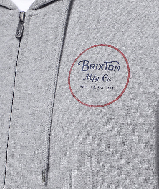 Brixton Wheeler Heather Grey Zip Up Hoodie