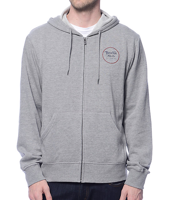 Brixton Wheeler Heather Grey Zip Up Hoodie at Zumiez : PDP