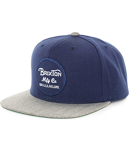 Brixton Wheeler Navy & Heather Grey Snapback Hat