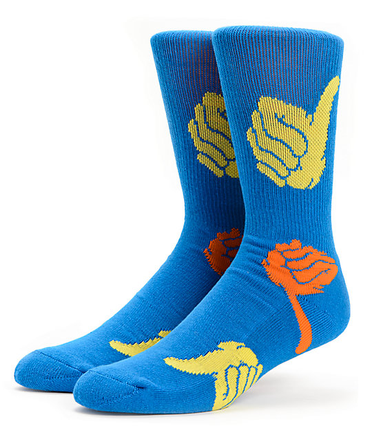Bro Style Thumbs Up Blue Crew Socks