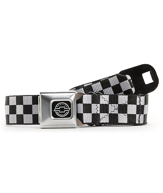 Buckle Down Chevy Black & White Check Seatbelt Belt