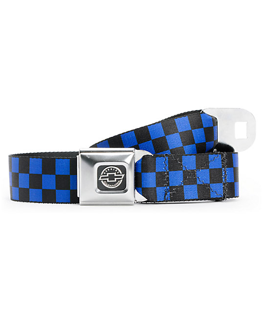 Buckle Down Chevy Checker Black & Blue Seatbelt Belt
