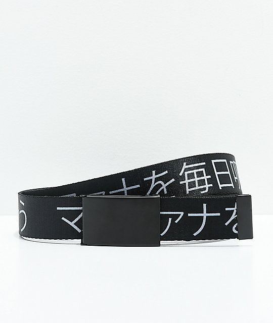 Buckle Down Kanji Black Web Belt by Buckle Down