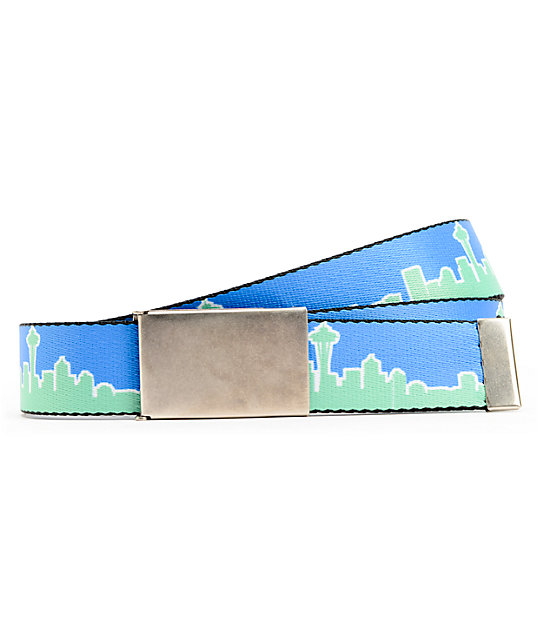 Buckle Down Seattle Blue & Green Web Belt