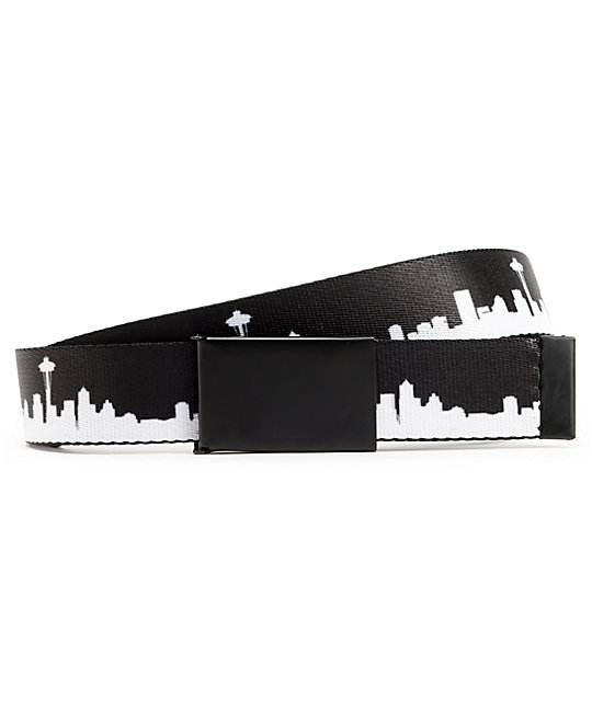 Buckle Down Seattle Skyline Black & White Web Belt