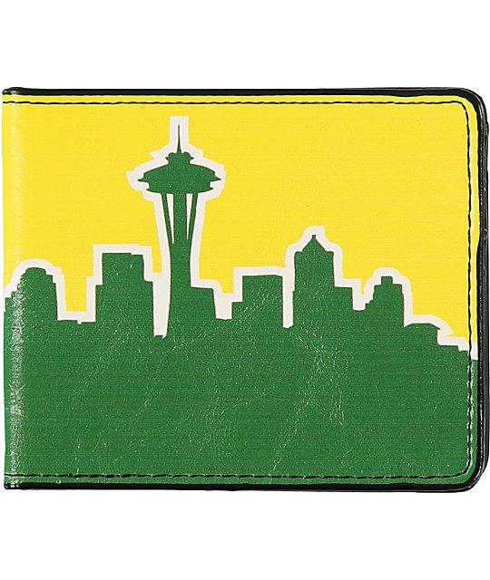 Buckle Down Seattle Skyline Green & Yellow Bifold Wallet
