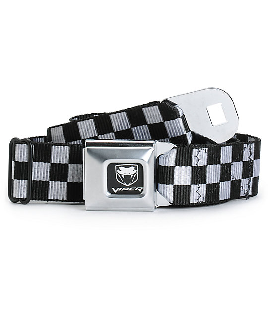 Buckle Down Viper Black & White Check Seatbelt Belt