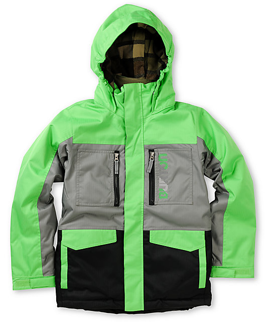 Burton Boys Distortion 10K Green, Grey & Black Snowboard Jacket 2013