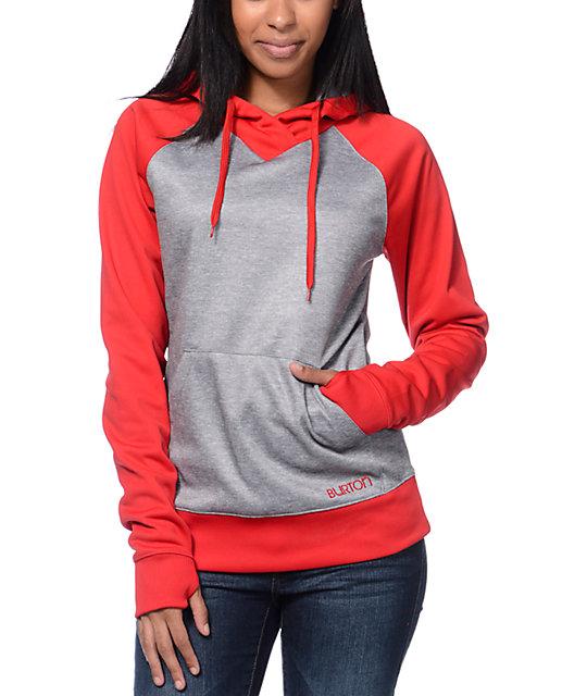 Burton Heron Red & Grey Pullover Tech Fleece Jacket