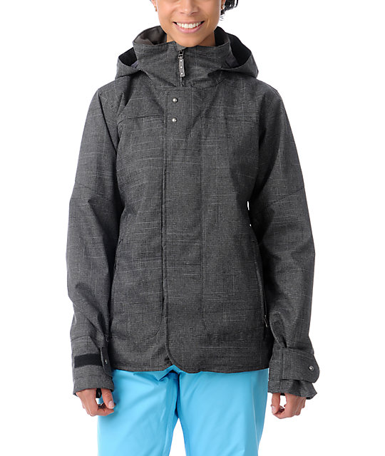 Burton Jet Set Black Plaid 10K Snowboard Jacket