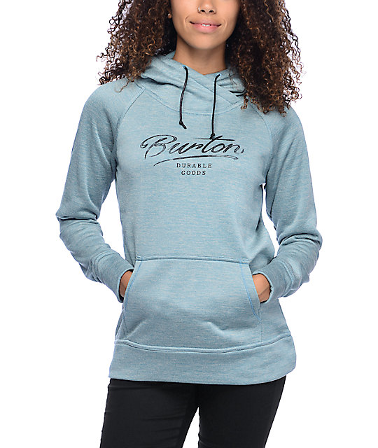 Burton Quartz Heather Blue Tech Fleece Hoodie