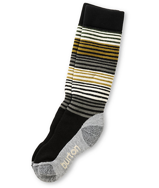 Burton Scout Black, Gold & Grey Snowboard Socks