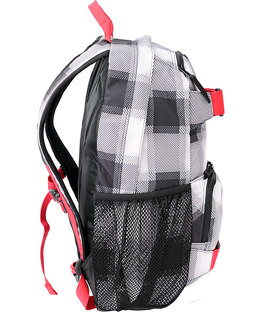 Burton Treble Yell Black Bobber Plaid Skate Backpack