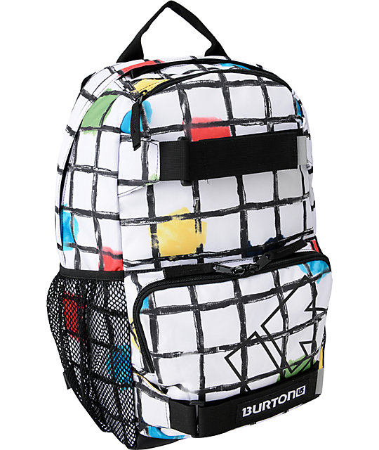 Burton Treble Yell White Watercolor Square Snow Backpack