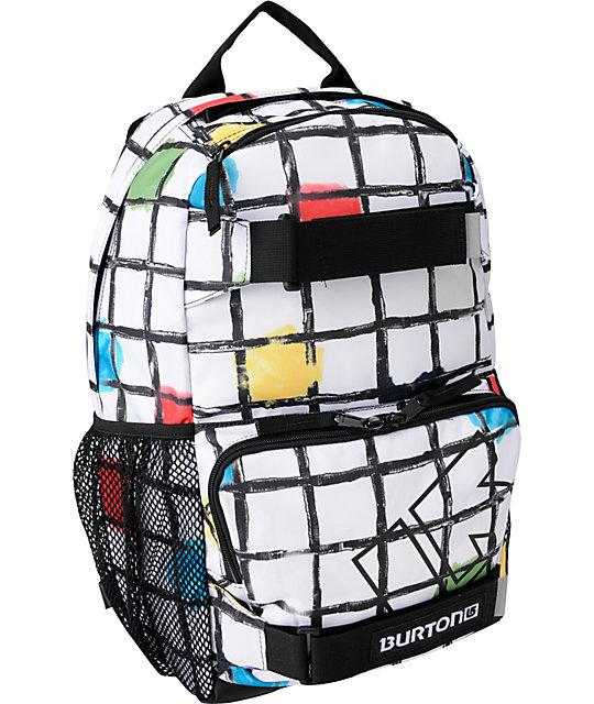 Burton Treble Yell White Watercolor Square Snow Backpack