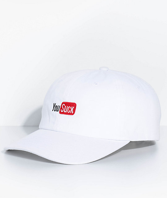 By Any Memes You Suck White Dad Hat _151277 front CA any memes you suck white dad hat