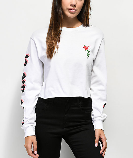 By Samii Ryan Let Me Go White Crop Long Sleeve T-Shirt