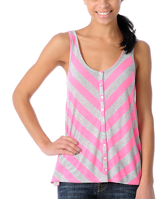 CDC Apparel Bama Pink & Grey Striped Tank Top