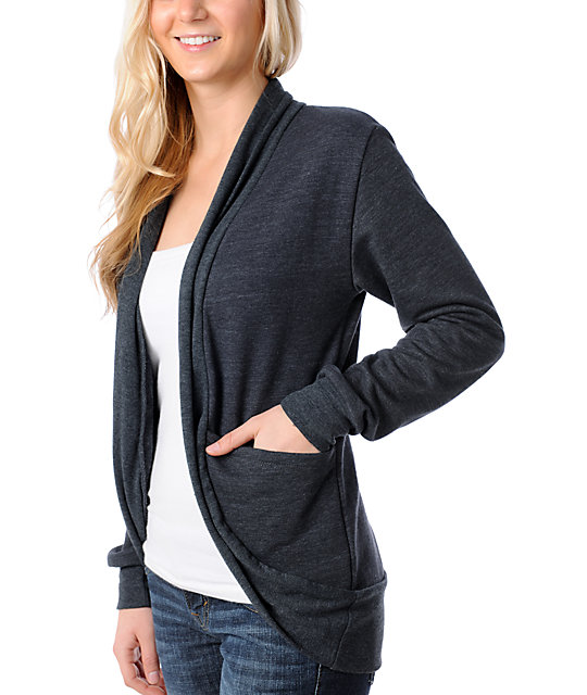 CDC Apparel City Fleece Charcoal Cardigan