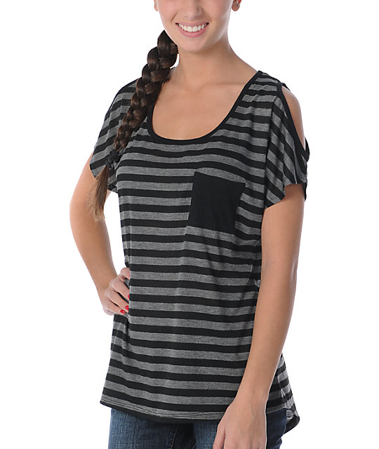 CDC Apparel Cold Shoulder Charcoal & Black Jazzy T-Shirt