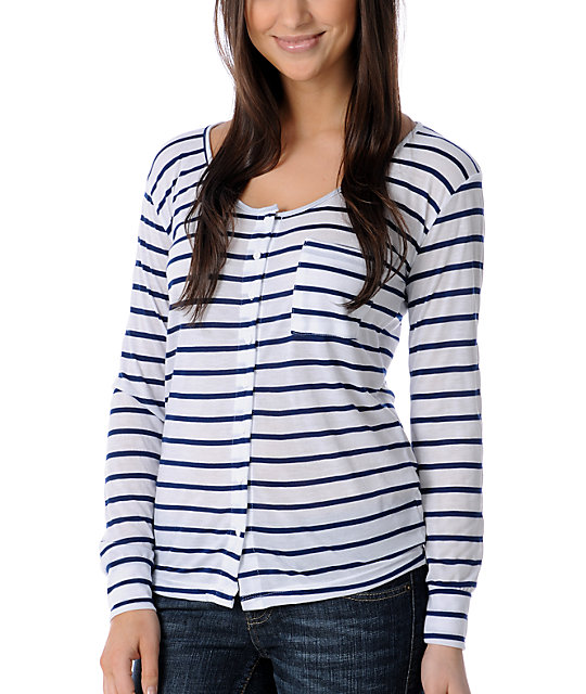 CDC Apparel End Of Summer Stripe Button Top