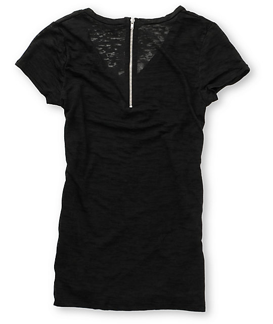 CDC Apparel Perched Bird Zip Graphic T-Shirt