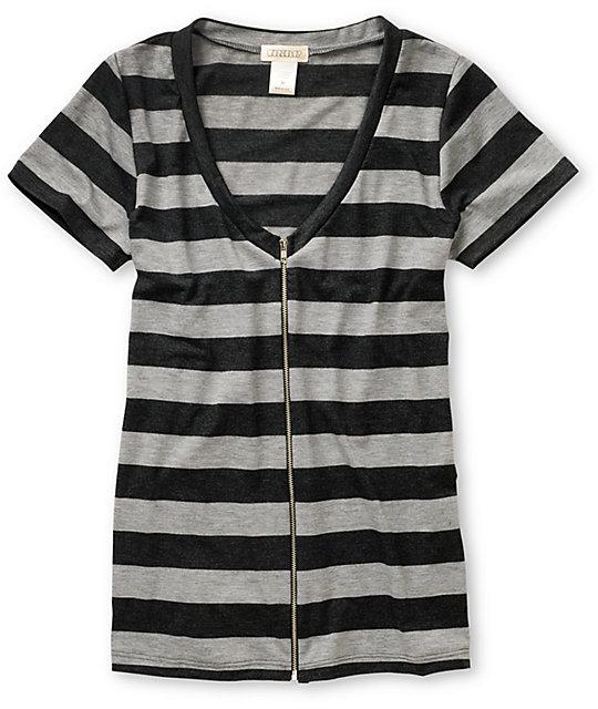 CDC Apparel Striped Zipper Heather Black V-Neck T-Shirt