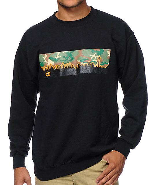 Cake Face Camo Skyline Black Crew Neck Sweatshirt
