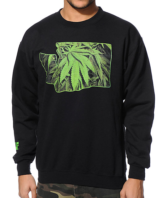 Cake Face Evergreen State Black Crew Neck Sweatshirt