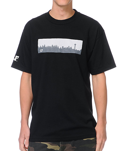 Cake Face Skyline Box Logo Black T-Shirt