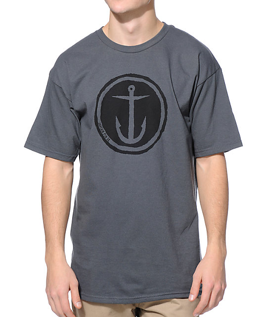 Captain Fin Circle Anchor Charcoal T-Shirt
