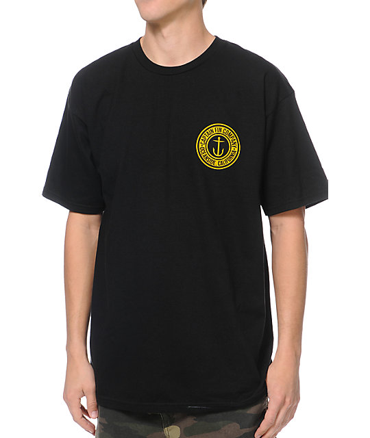 Captain Fin Co. Anchor Button Black T-Shirt