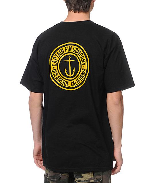 Captain Fin Co. Anchor Button Black T-Shirt