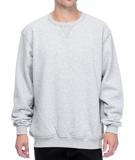 carhartt midweight heather grey crew neck sweatshirt at