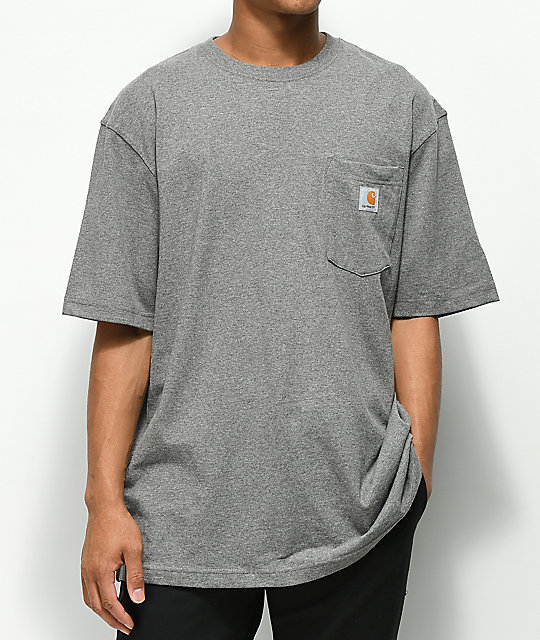Y Con Bolsillo Carhartt Camiseta Gris Workwear Yfy6bv7g