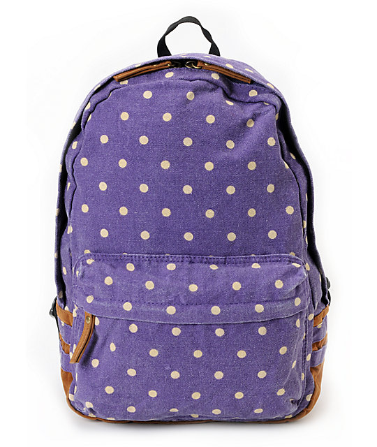 Carrot Company Dot Print Purple Backpack