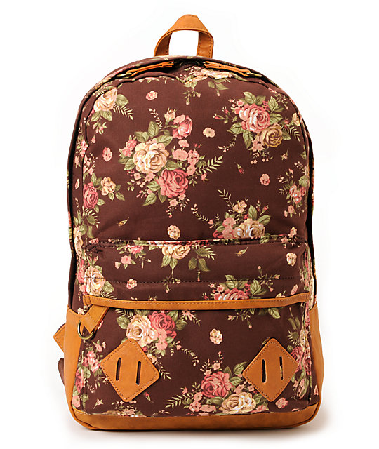 Carrot Company Floral Print Brown Canvas Backpack