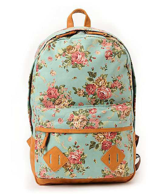 Carrot Company Floral Print Mint Canvas Backpack