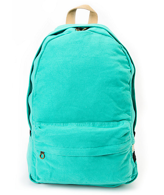 Carrot Company Solid Mint Canvas Backpack