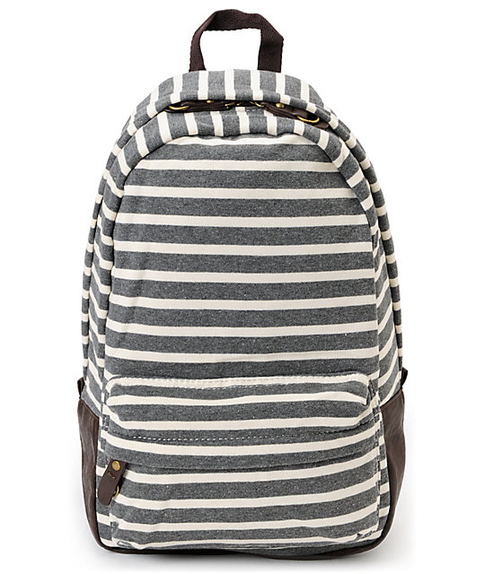 Carrot Company Striped Dark Grey Backpack