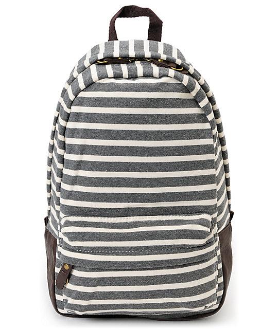 Carrot Company Striped Dark Grey Backpack