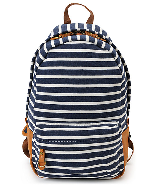 Carrot Company Striped Navy Backpack