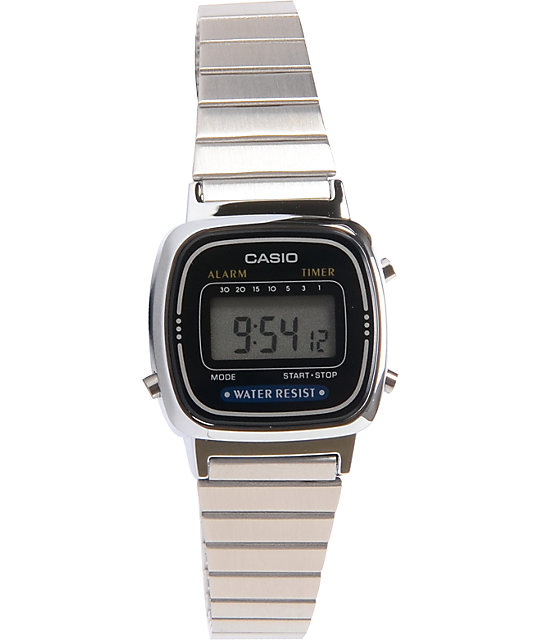 Casio LA670WGA-1DF Small Classic Vintage Silver Watch